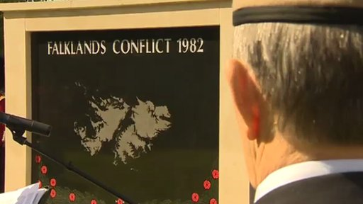 Veteran at Falklands memorial