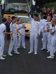 The Wanted with the Olympic torch