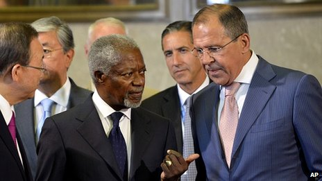 Mr Annan (centre) warned that continuing conflict in Syria could lead to violence spilling over into the wider Middle East