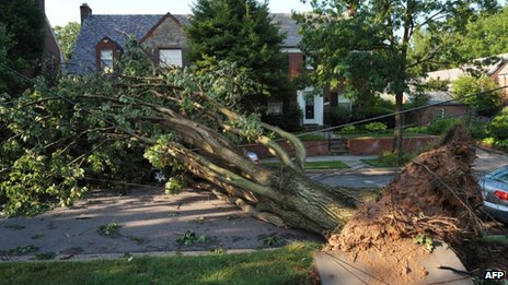 The storms brewed in the Midwest and then barrelled east to the mid-Atlantic states