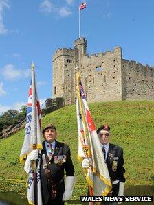 Servicemen at Cardiff Castle