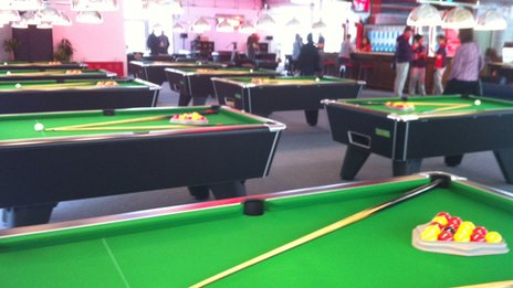 Pool tables in the Globe