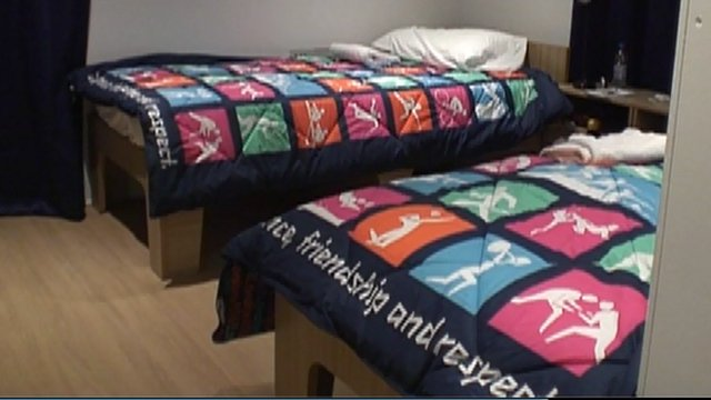 Olympic-themed duvets in the athletes' village
