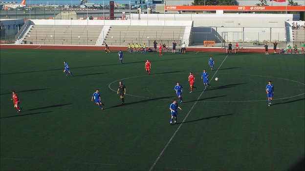 Gibraltar taking on Jersey at the Victoria Stadium