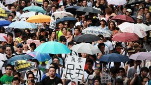 Protests on Hong Kong anniversary