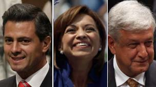 The main contenders: Lopez Obrador (left), Vazquez Mota (centre) and Pena Nieto (right)