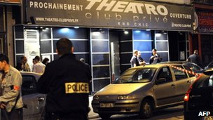 French police outside the Theatro nightclub in Lille after the shooting, 1 July
