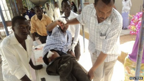 Injured worshipper carried into hospital in Garissa, Kenya (1 July)