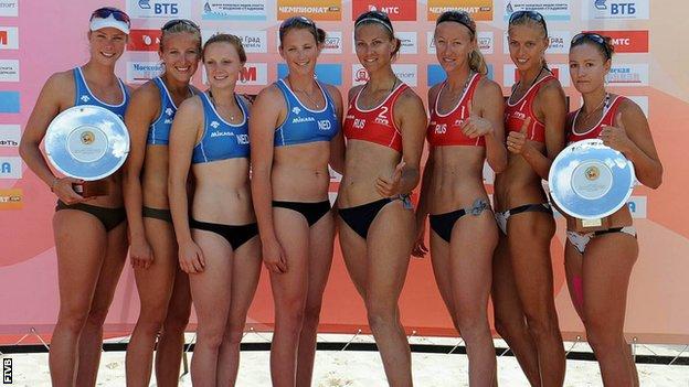 Left to right: Netherlands' Madelein Meppelink, Sophie van Gestel, Michelle Stiekema, Rimka Braakman, and Russia's Svetlana Popova, Maria Bratkova, Anastasia Vasina and Anna Vozakova