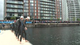 Swimmers at Salford Quays