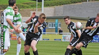 Cefn Druids (black and white shirts) lost to The New Saints in the Welsh Cup final