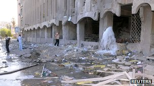 Building damaged by a car bomb in Syria's second city, Aleppo, on 30 June 2012