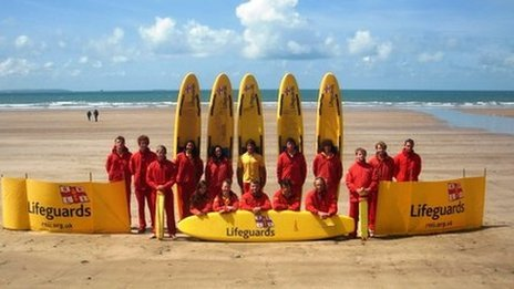 RNLI lifeguards on Newgale beach
