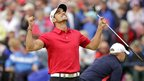 Spain's Rafa Cabrera-Bello reacts after getting a birdie on the 18th green during the final round of the Irish Open Golf Championship at Royal Portrush