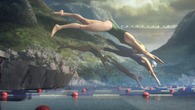 Swimmers dive into the water in a scene from the BBC's London 2012 titles