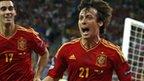 David Silva celebrates scoring against Italy