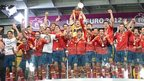 Spain football team celebrating