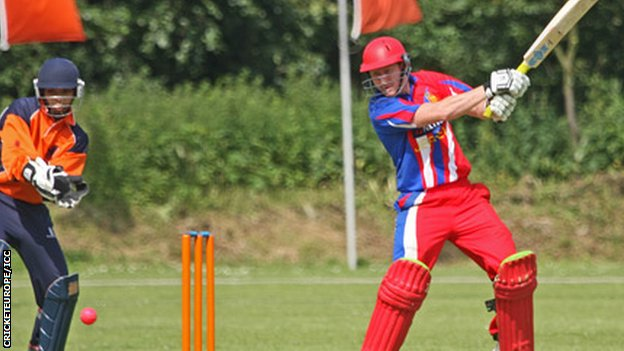 Andrew Dewhurst bats for Jersey in the final