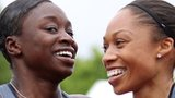 Jeneba Tarmoh and Allyson Felix embrace after their dead heat at USA Olympic trials