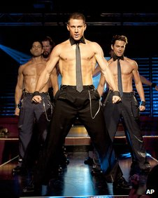 Channing Tatum and co-stars in a scene from Magic Mike
