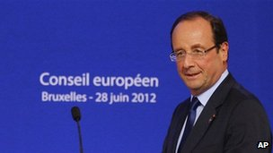 Francois Hollande at the EU summit on June 28, 2012