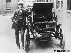 American inventor and physicist Thomas Edison (1847 - 1931) and his electric car the Edison Baker