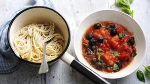 Bowls of pasta and smoky tomato pasta sauce