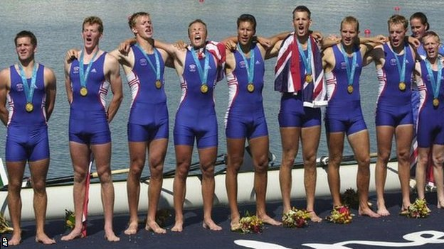 Gb coxed eights gold medal winners 2000 lindsay is on the far left