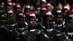 Sri Lankan cadets march at a ceremony for the graduation of 140 army officers