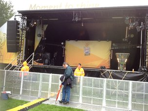 The stage and scene is being set at Abbey Park for the evening celebrations in Leicester
