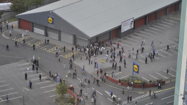 CCTV image of scenes of disorder near a branch of Lidl in Manchester, August 2011