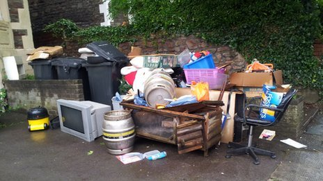 Rubbish dumped outside a residence in Bristol