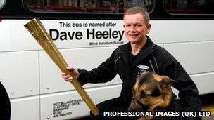 """Blind Dave"" Heeley with Seamus the dog (pic: Professional Images (UK) Ltd/National Express)"