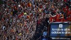 Spain's national soccer team players celebrate on an open top bus during a parade in Madrid, 2 July 2012