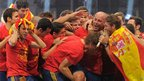 "Spain""s players celebrate at Cibeles square in Madrid on July 2, 2012"