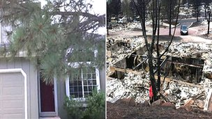 Mr Crump's home before and after the wildfire ravaged it