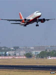 An Air India domestic flight takes off from Sardar Vallabhbhai International Airport in Ahmedabad