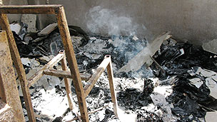 Chair burning in school, Thailand