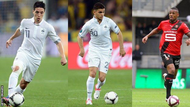 France players Samir Nasri [l], Hatem Ben Arfa and Yann M'Vila [r]