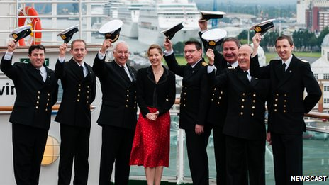 Darcey Bussell with the captains of the seven ships