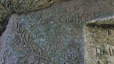 The name of Sergeant Guitard is carved into a wall of a cave, after her was killed in 1916
