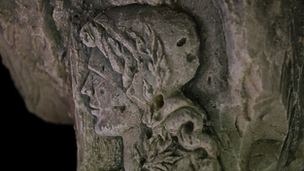 A carving of the face of Marianne carved from the inside of a cave by a soldier during World War One in Confrecourt, France