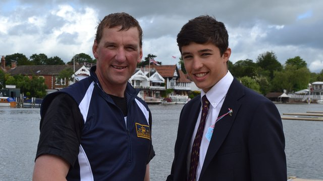 Harry with Olympic rowing gold-medallist and World Olympic Dreams presenter, Sir Matthew Pinsent