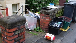 Rubbish left outside a rented house in Bristol