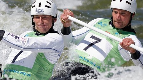 David Florence (left) and Richard Hounslow compete at the recent World Cup event in Cardiff
