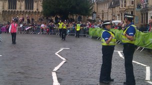 Crowds awaiting the torch relay in Stamford, Lincs