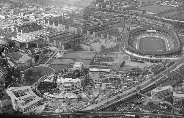 Aerial view of BBC Television Centre and White City Stadium