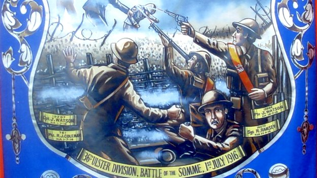 This banner depicts the 36th (Ulster) Division on the first day of the Battle of the Somme, 1 July 1916. Of the nine Victoria Crosses awarded to British soliders on that day, four went to men of the Ulster Division. Regimental mythology has it that Orangemen in the division charged wearing their sashes.