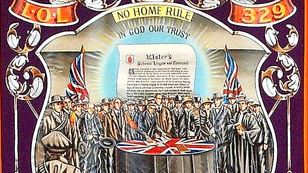 This banner depicts the signing of the Ulster Covenant in September 1912. The covenant was a protest against the Third Home Rule Bill, which proposed to give Ireland self-government within the United Kingdom. Protestants generally, and Orangemen in particular, opposed the bill.