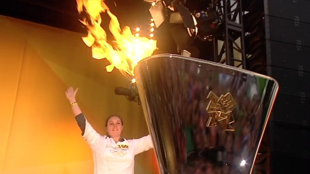 Torchbearer Natasha Applegate lit Peterborough's cauldron